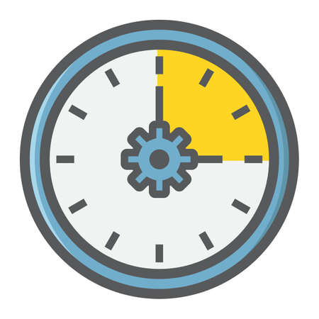 Time Management filled outline icon, seo and development, clock sign vector graphics, a colorful line pattern on a white background, eps 10. Illustration