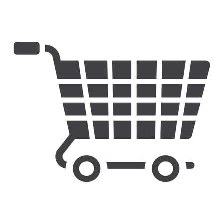Ecommerce solutions glylph icon, seo and development, basket sign vector graphics. Illustration