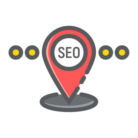 Local SEO filled outline icon, seo and development, pin sign vector graphics.