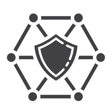 ネットワーク保護グリフ アイコン、seo、シールド記号ベクトル グラフィックスの開発