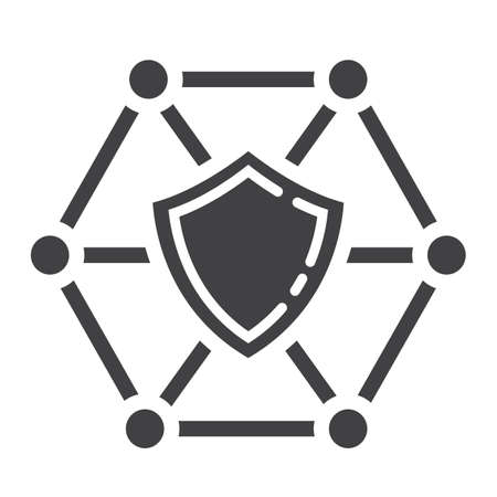 private access: Network protection glyph icon, seo and development, shield sign vector graphics.
