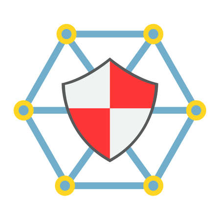 Network protection flat icon, seo and development, shield sign vector graphics.
