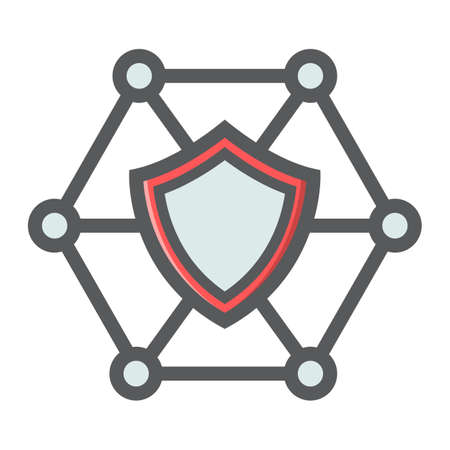 private access: Network protection filled outline icon, seo and development, shield sign vector graphics. Illustration