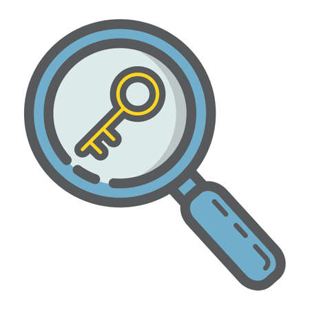 Keyword research filled outline icon, seo and development, magnifier sign vector graphics. Illustration