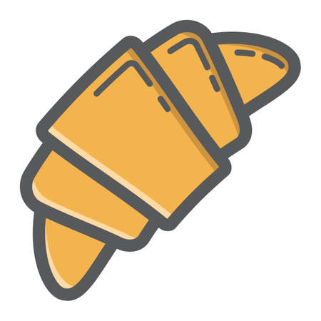 bun: Croissant filled outline icon, food and drink, sweet sign vector graphics, a colorful line pattern on a white background, eps 10.