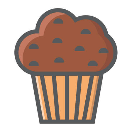 Muffin filled outline icon, food and drink, sweet sign vector graphics, a colorful line pattern on a white background, eps 10. Illustration