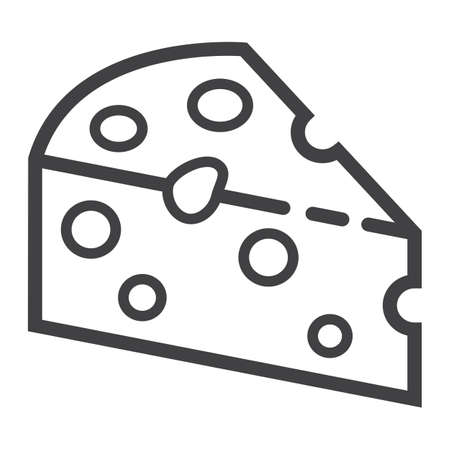 hole: Cheese line icon, food and drink, dairy sign vector graphics, a linear pattern on a white background, eps 10.