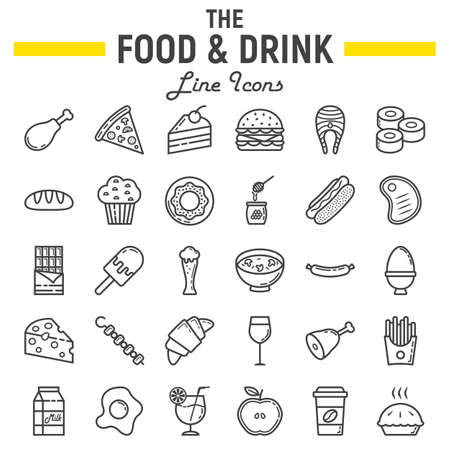 Food and drink line icon set, meal symbols collection, vector sketches, logo illustrations, signs linear pictograms package isolated on white background, eps 10. Vectores