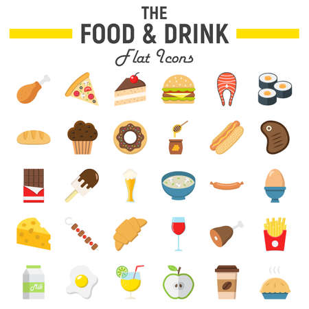 Food and drink flat icon set, meal symbols collection, vector sketches, logo illustrations, signs colorful solid pictograms package isolated on white background, eps 10.