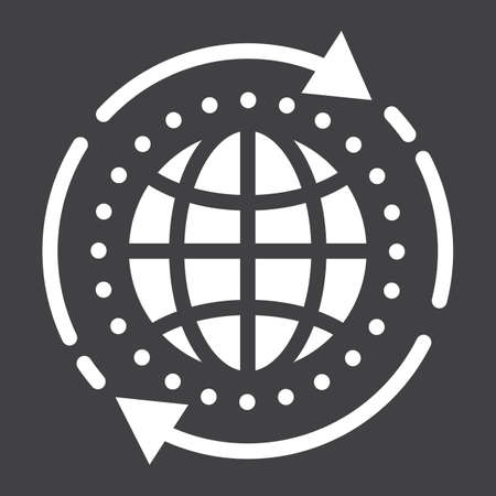 Global solution glyph icon, seo and development, globe sign vector graphics, a solid pattern on a black background