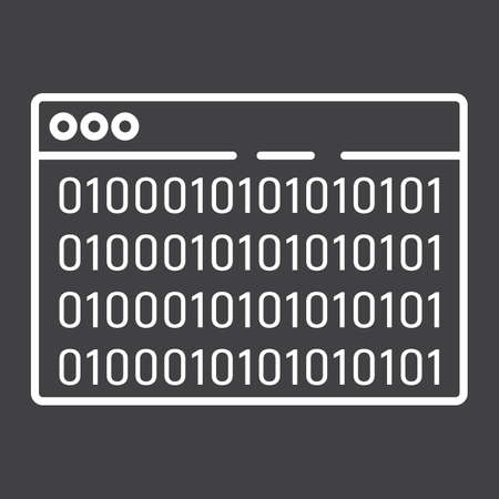 Custom coding line icon, seo and development, browser programming sign vector graphics, a linear pattern on a black background