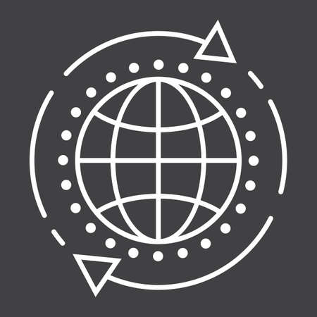 Global solution line icon, seo and development, globe sign vector graphics, a linear pattern on a black background, eps 10.