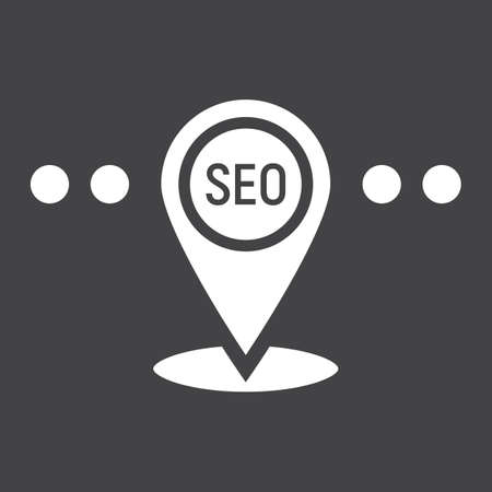 localization: Local SEO glyph icon, seo and development, pin sign vector graphics, a solid pattern on a black background Illustration
