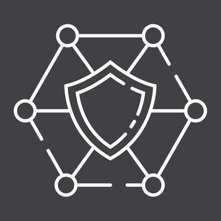 Network protection line icon, seo and development, shield sign vector graphics, a linear pattern on a black background Illustration