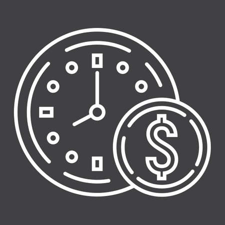Time Is Money line icon, business and finance