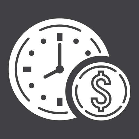 Time Is Money glyph icon, business and finance Illustration