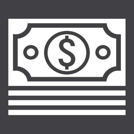 money packs: Bundle of money glyph icon, business and finance
