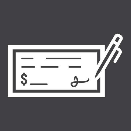 Bank check glyph icon, business and finance, pen