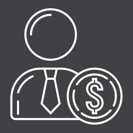 investor: Investor line icon, business and finance