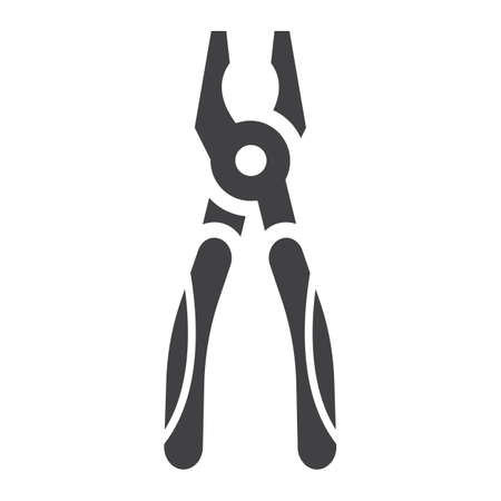 Pliers glyph icon, build and repair, tool sign vector graphics, a solid pattern on a white background, eps 10.