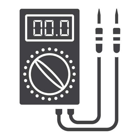 Digital multimeter glyph icon, build and repair, electric volmeter sign graphics, a solid pattern on a white , .