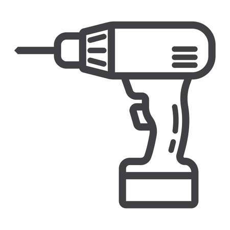 Electric Drill line icon, build and repair, electrical screwdriver sign graphics, a linear pattern on a white , 10.