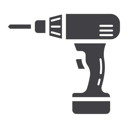Electric Drill glyph icon, build and repair, electrical screwdriver sign graphics, a solid pattern on a white , Illusztráció