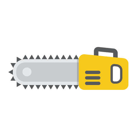 saw blade: Chainsaw flat icon, colorful solid pattern on a white background eps 10.