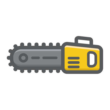 Chainsaw filled outline icon, colorful line pattern on a white background eps 10. Illustration