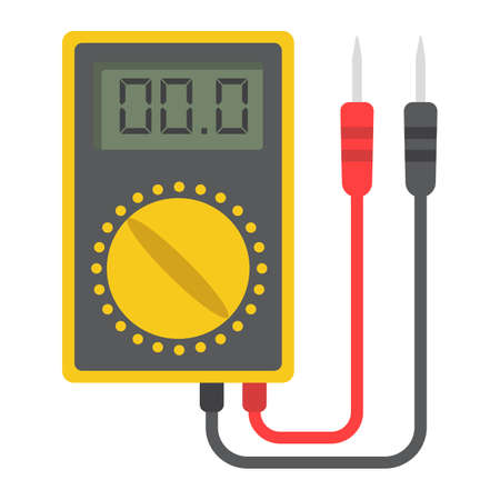 Digital multimeter flat icon, colorful solid pattern on a white background eps 10.