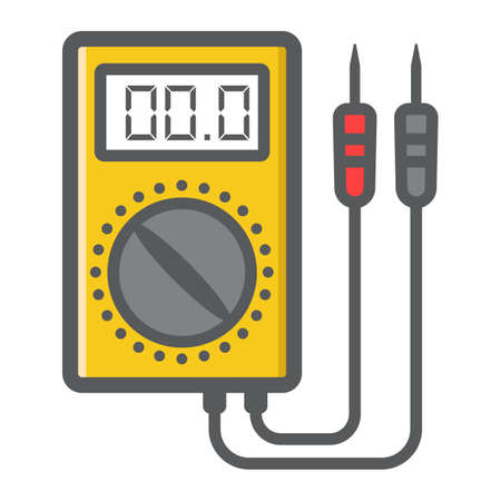 Digital multimeter filled outline icon, colorful line pattern on a white background eps 10.