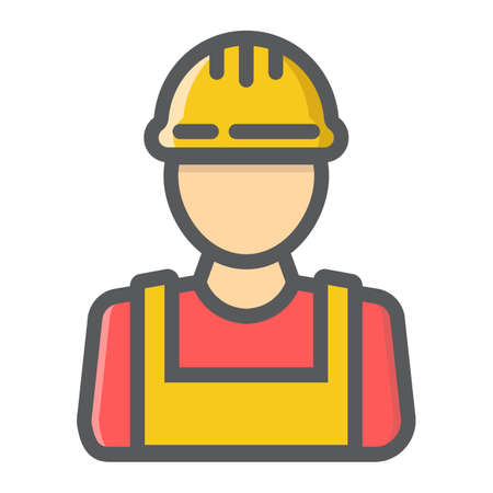 Builder filled outline icon, colorful line pattern on a white background eps 10.