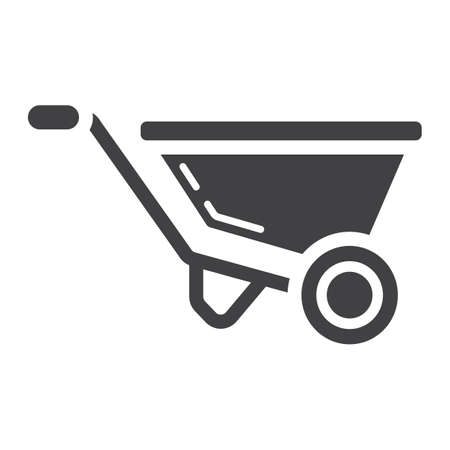 Wheelbarrow glyph icon, solid pattern on a white background eps 10.