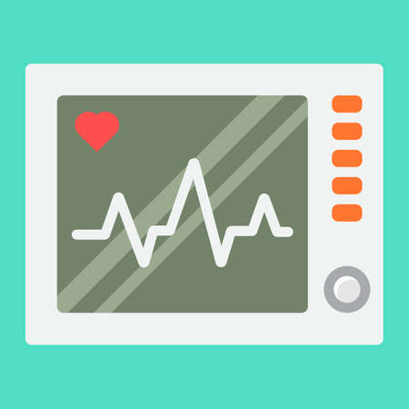 Ecg Machine flat icon, medicine and healthcare, heartbeat sign vector graphics, a colorful solid pattern on a cyan background, eps 10.