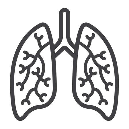 Lungs line icon, medicine and healthcare, human organ sign vector graphics, a linear pattern on a white background, eps 10.