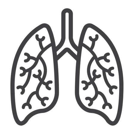 Icono de línea de pulmones, medicina y cuidado de la salud, gráficos de vectores de signo de órgano humano, un patrón lineal sobre un fondo blanco, eps 10.
