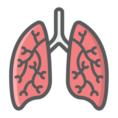 Lungs filled outline icon, medicine and healthcare, human organ sign vector graphics, a colorful line on a white background, eps 10. Çizim