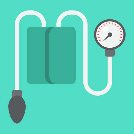 Tonometer flat icon, medicine and healthcare, Blood Pressure sign vector graphics, a colorful solid pattern on a cyan background, eps 10.