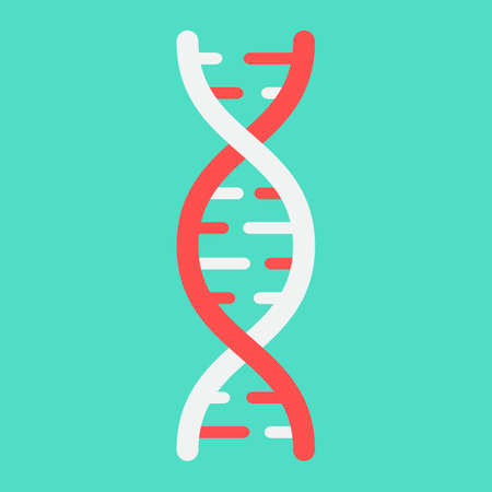DNA flat icon, medicine and healthcare, genetic sign vector graphics, a colorful solid pattern on a cyan background, eps 10.