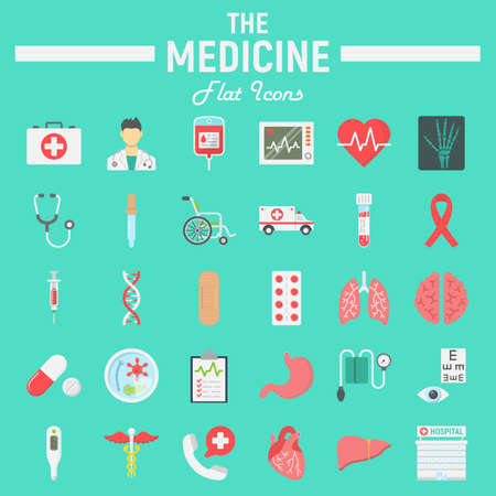 Medicine flat icon set, medical symbols collection, healthcare vector sketches, logo illustrations, anatomy signs colorful solid pictograms package isolated on cyan background, eps 10. Illustration