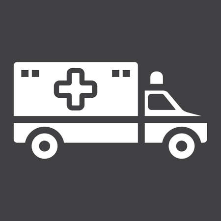 Ambulance glyph icon, medicine and healthcare, transport sign vector graphics, a solid pattern on a black background, eps 10.