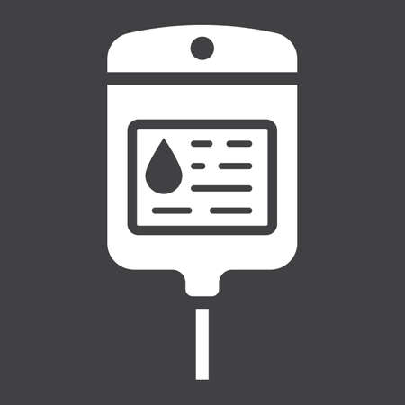 Iv bag glyph icon, medicine and healthcare, drop counter sign vector graphics, a solid pattern on a black background, eps 10. Illustration