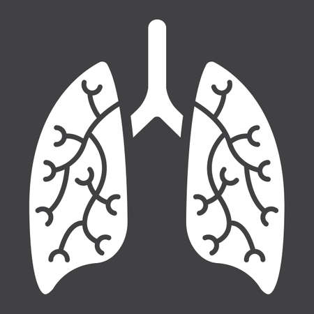 Lungs glyph icon, medicine and healthcare, human organ sign vector graphics, a solid pattern on a black background, eps 10. Illustration