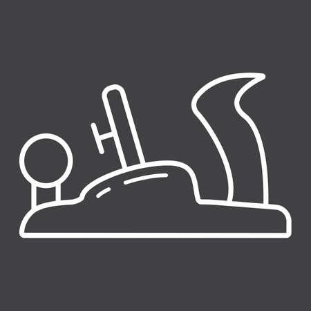 Jack plane line icon, build and repair, carpentry