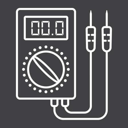 Digital multimeter line icon, build and repair