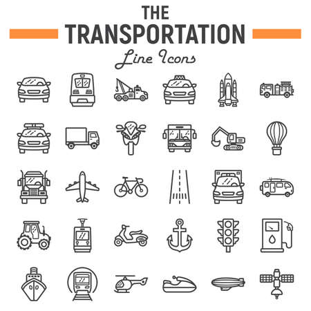 Jeu d'icônes de transport ligne, collection de symboles de transport, croquis de vecteur véhicule, illustrations de logo, paquet de pictogrammes linéaire de navigation signes isolé sur fond blanc, eps 10 Logo