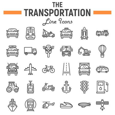 La línea icono, colección de los símbolos del transporte, bosquejos del vector del vehículo, ejemplos del logotipo, muestras del transporte fija el paquete linear de los pictogramas aislado en el fondo blanco, EPS 10. Logos