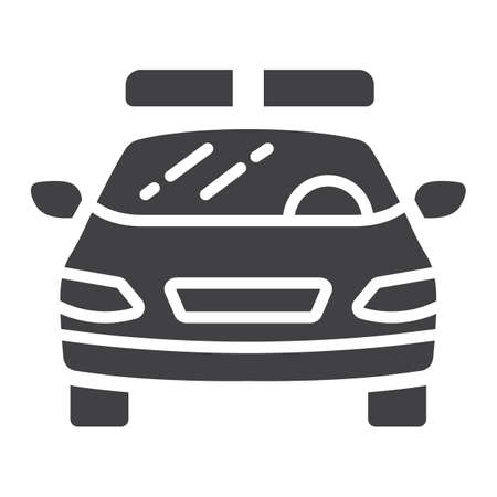 squad: Police car glyph icon, transport and automobile, cop sign vector graphics, a solid pattern on a white background, eps 10.