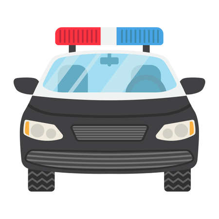 squad: Police car flat icon, transport and automobile, cop sign vector graphics, a colorful solid pattern on a white background, eps 10. Illustration