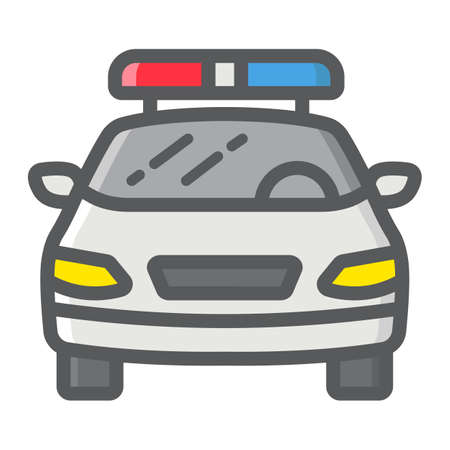 squad: Police car filled outline icon, transport and automobile, cop sign vector graphics, a colorful line pattern on a white background, eps 10.